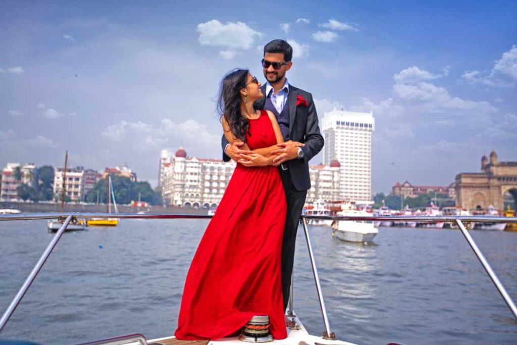 Pre-Wedding Photoshoot on a Yacht in Mumbai at Gateway of India